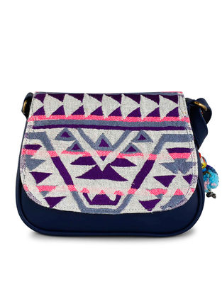 Blue-Multicolored Thread-embroidered Jacquard Sling Bag with Tassel