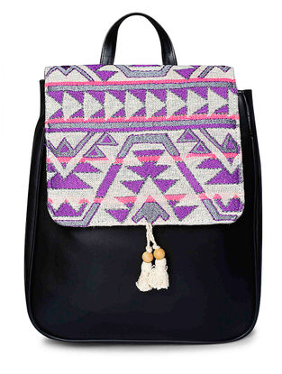 Black-Purple Embroidered Jacquard Backpack with Tassels