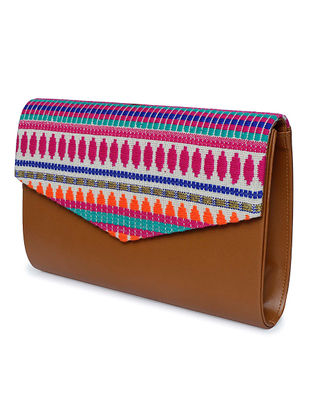Tan-Multicolored Thread-Embroidered Jacquard Clutch