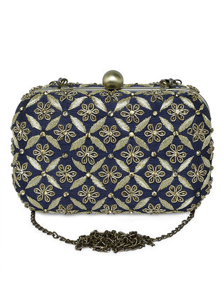 Blue Hand-Embroidered Jaal Raw Silk Clutch
