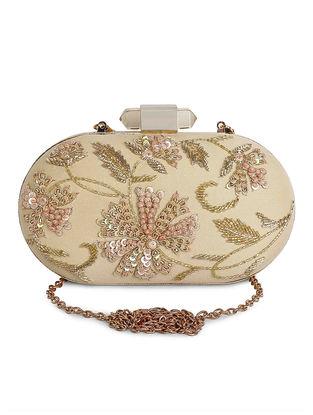 Beige Hand-Embroidered Raw Silk Clutch