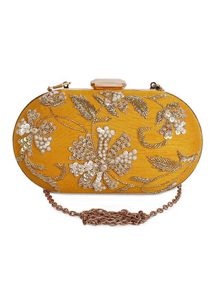 Yellow Hand-Embroidered Raw Silk Clutch
