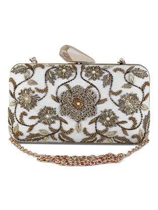 Off White-Copper Hand-Embroidered Raw Silk Clutch