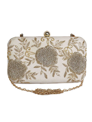 Off White Hand-Embroidered Raw Silk Clutch