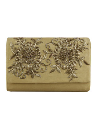 Golden Hand-Embroidered Raw Silk Clutch