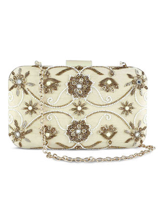 Off-White Hand-Embroidered Raw Silk Clutch
