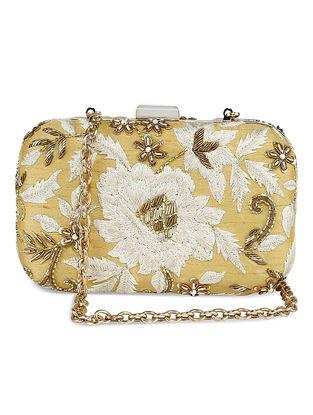 Golden Zardozi-Embroidered Raw Silk Clutch