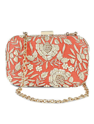 Coral Hand-Embroidered Raw Silk Clutch