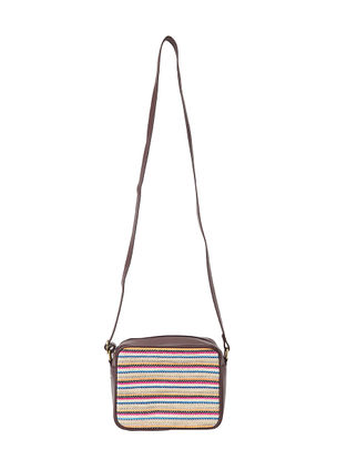 Brown-Multicolored Jacquard Sling Bag