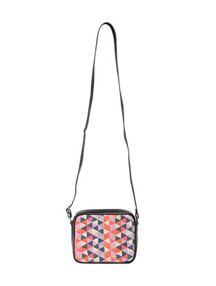 Black-Multicolored Jacquard Sling Bag