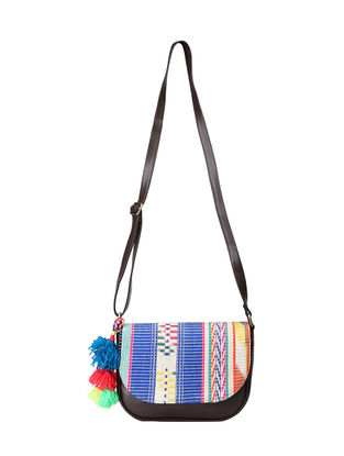 Brown-Multicolored Jacquard Sling Bag with Pom-poms