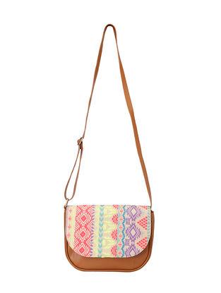 Tan-Multicolored Jacquard Sling Bag