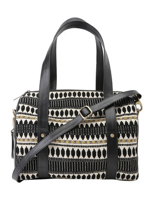 Black-White Jacquard Duffle Bag