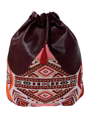 Maroon-Multicolored Jaquard Backpack with Tassel