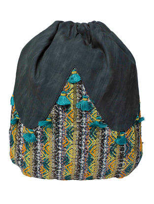 Grey-Multicolored Embroidered Backpack with Tassel