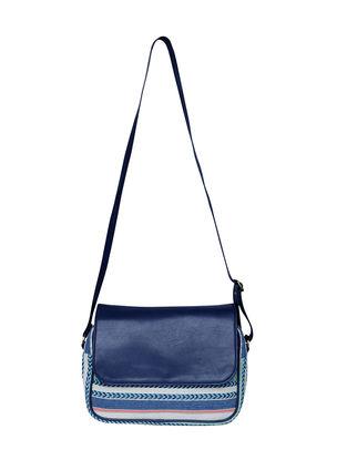 Blue-Multicolored Jacquard Sling Bag