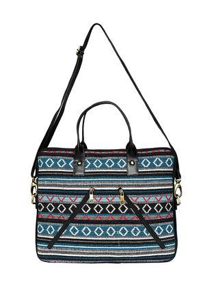 Blue-Multicolored Jacquard Laptop Bag