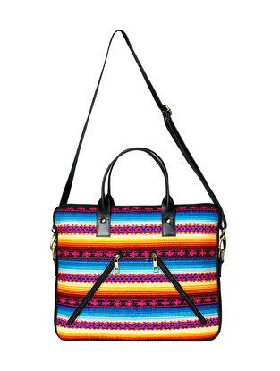 Black-Multicolored Jacquard Travel Bag
