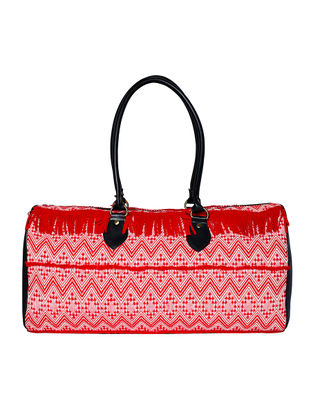 Red Jacquard Duffle Bag with Fringes