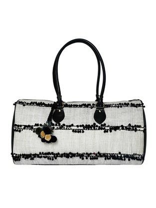 Black-Silver Cotton Canvas Duffle Bag with Pom-poms