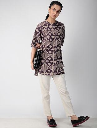 Purple Handwoven Ikat Cotton Tunic