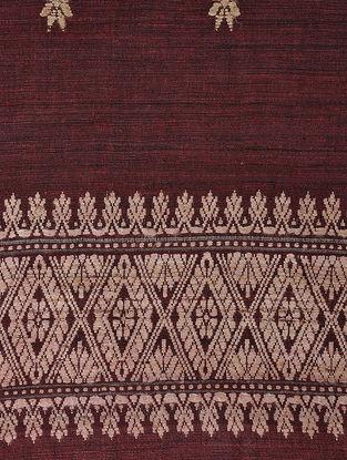 Maroon-Beige Natural-dyed Eri Silk Shawl with Assamese Motifs and Tassels