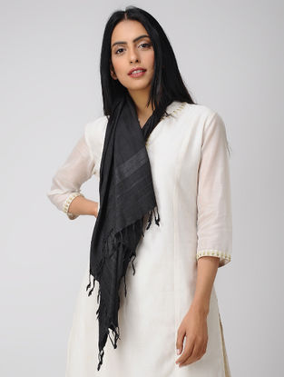 Black Natural-dyed Mulberry Silk Stole