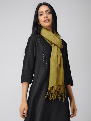 Olive Natural-dyed Mulberry Silk Stole