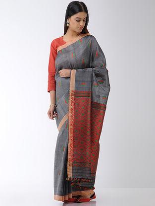 Grey-Red Cotton-Silk Saree with Assamese Motifs and Tassels
