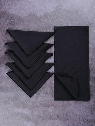 Black Cotton Table Napkins (Set of 6)