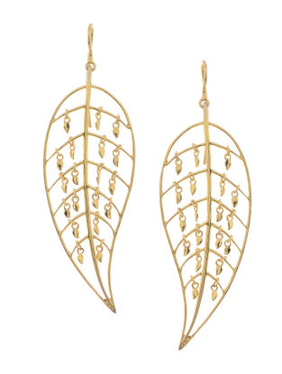 Gold Micron-plated Silver Earrings with Leaf Design