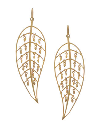 Matt Gold Micron-plated Silver Earrings with Leaf Design