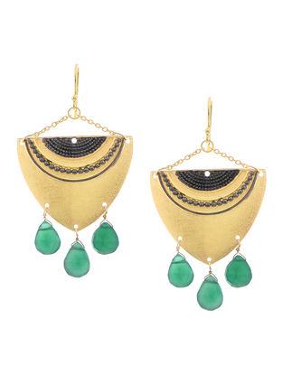 Green Onyx Rhodium Finish Silver Earrings
