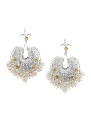 Fresh Water Pearls Gold Tone Silver Earrings