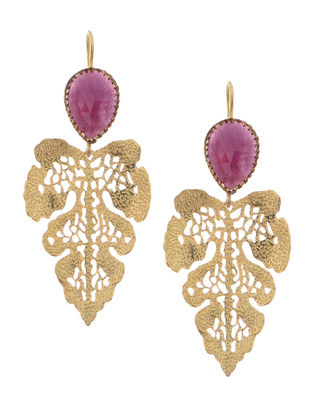 Pink Sapphire Gold-plated Silver Earrings