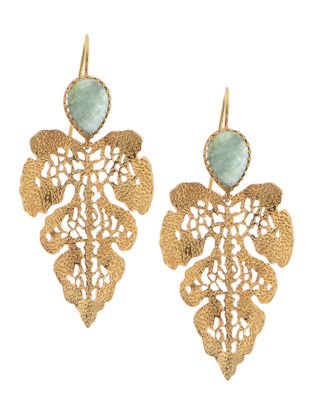 Emerald Gold-plated Silver Earrings