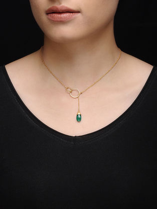 Green Onyx Gold Micron-plated Silver Necklace