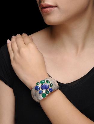 Lapis Lazuli and Green Onyx Silver Cuff