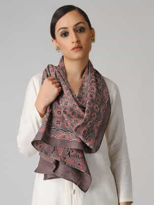 Brown-Red Ajrakh-printed Cotton Stole