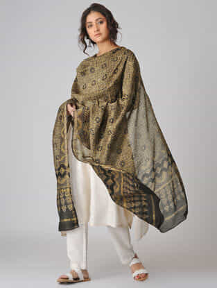 Beige-Black Ajrakh-printed Chanderi Dupatta with Zari Border