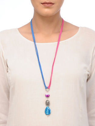 Blue-Pink Agate Necklace