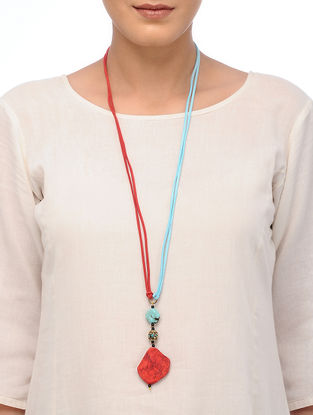 Red Howlite and Turquoise Necklace