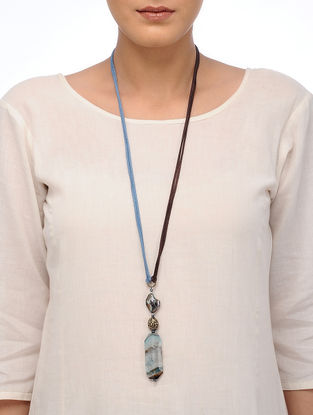 Brown-White Faceted Agate Necklace with Mother of Pearl