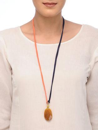 Orange Druzy Necklace with Lord Buddha Motif