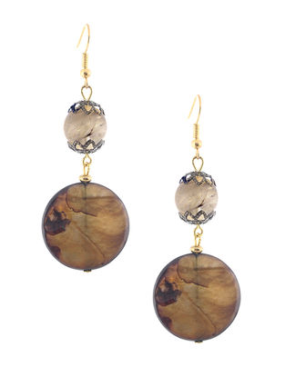 Citrin and Mother of Pearl Beaded Earrings