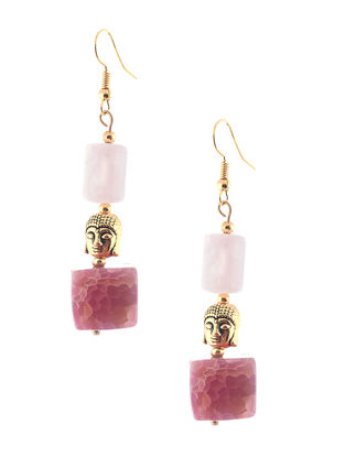 Rose Quartz and Agate Beaded Earrings