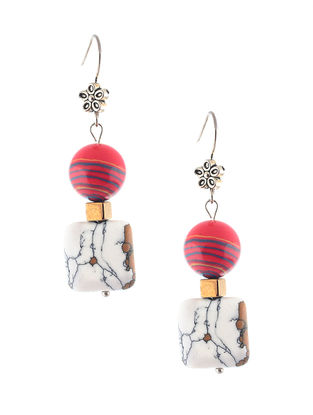 Red-Turquoise Beaded Earrings