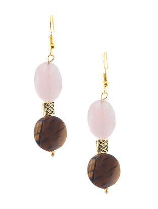 Rose Quartz and Tigers Eye Beaded Earrings