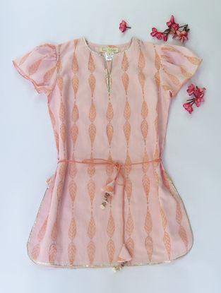 Pink-Orange Willow Tie-up Waist Cotton Kurti with Sequins
