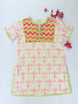 White-Pink Flower Burst Aztec Printed Cotton Kurti with Sequins
